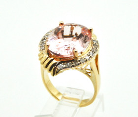 14K Yellow Gold Diamond & Morganite Ring 12002790