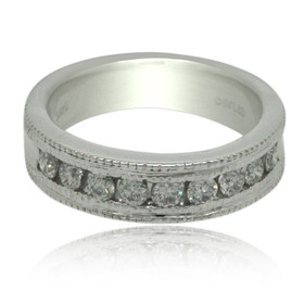 14K White Gold 0.75 carat Diamond Wedding Band