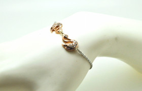 14K Two Tone Gold Diamond Swan Bracelet 21000687