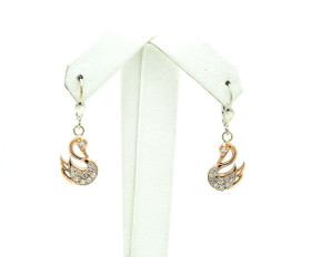 14K Two Tone Gold Diamond Swan Earrings 41002277