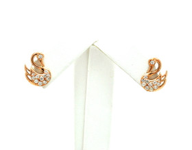 14K Two Tone Gold Diamond Swan Stud Earrings 41002276