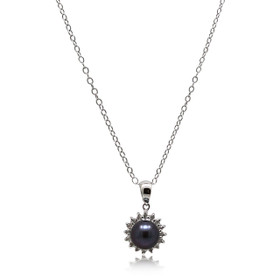 14K White Gold Diamond Black Pearl Pendant 52002008