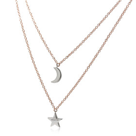 14K Two Tone Double Layered Star Moon Necklace 31000902