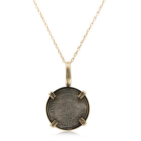 14K Yellow Gold Silver Spanish Coin Pendant 50003463