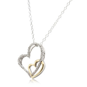 14K Gold and Silver Diamond Double Heart Charm 51001900