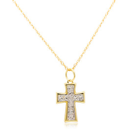 14K Two Toned Gold CZ Cross Charm 52002024