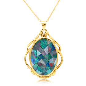 14K Yellow Gold Mosaic Opal Pendant 52002030