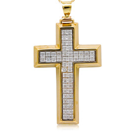 14K Yellow Gold Invisible Set CZ Cross Pendant 52002031