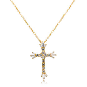 14K Yellow Gold Fancy CZ Cross Pendant 52002034