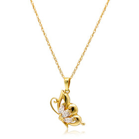 14K Yellow Gold CZ Butterfly Charm 52002037