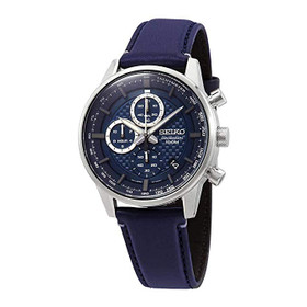 Chronograph Quartz Blue Dial Blue Leather Men's Watch