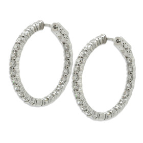 14K White Gold 4.5 carats Diamond Hoop Earrings