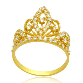 14K Yellow Gold Princess Crown  CZ Ring 12002786