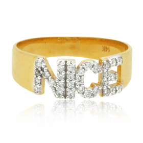 "14K Yellow Gold CZ ""Nice"" Ring 12002784"