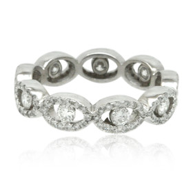 14K White Gold Diamond Eternity Wedding Band 11006183-R