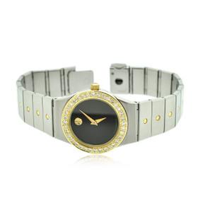 Movado Ladies Two Tone Diamond Quartz Watch : Black Museum Dial Watch 65000098