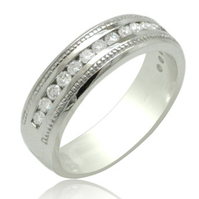 14K White Gold 0.51 carat Diamond Wedding Band