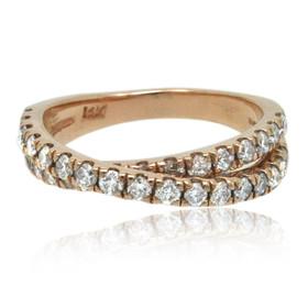14K Rose Gold Diamond Bypass Ring 11006172