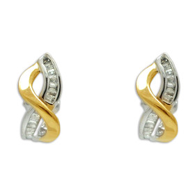 14K Two-Tone Gold Diamond Criss-Cross Omega Back Earrings 41002290