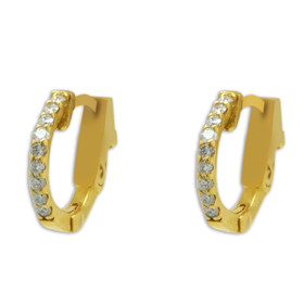 14K Yellow Gold Diamond Huggie Hoop Earrings 41002292