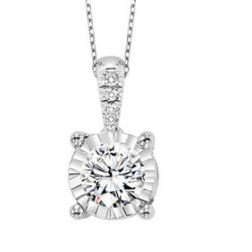 14K White Gold Diamond Illusion Set Pendant 31000928