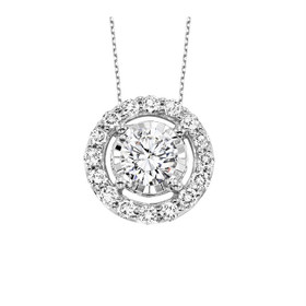 14K White Gold Halo Setting Diamond Pendant 31000931