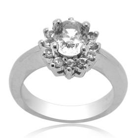 14K White Gold White Sapphire Gem Stone Ring