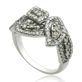 14K White Gold Champagne and White Diamond Leaf Ring