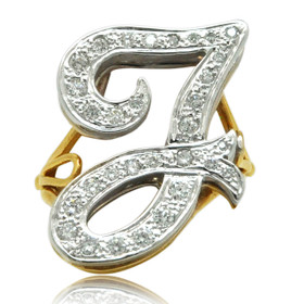 14K Two-Tone Gold Diamond 'J' Initial Diamond Ring 11006178