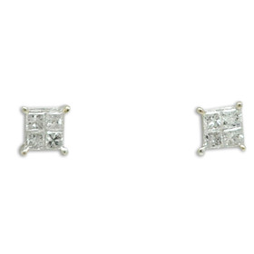 14K White Gold Diamond Screw Back Stud Earrings 41002298