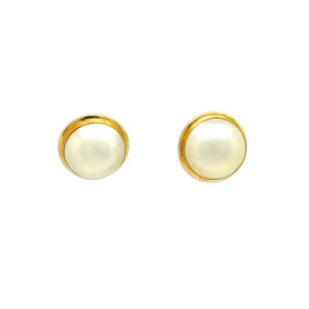 14K Yellow Gold Pearl Omega Back Earrings 42003043