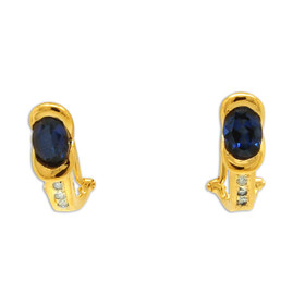 14K Yellow Gold Tanzanite Diamond Omega Back Earrings 42003044