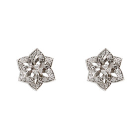 14K White Gold Diamond Screw Back Flower Stud Earrings 41002247