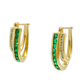 14K Yellow Gold Emerald Diamond Oval Hoop Earrings 42003046