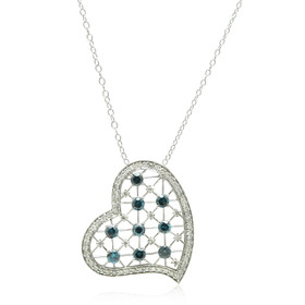 14K White Gold Blue Diamond Heart Pendant 51001920
