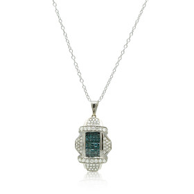14K White Gold Blue Diamond Fancy Pendant 51001921