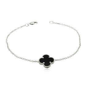 14K White Gold Black Onyx Clover Bracelet 22000805