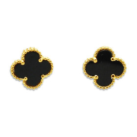 14K Yellow Gold Onyx Clover Post Earrings 42003051
