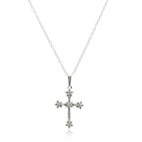 14K White Gold Diamond Cross Charm  51001918