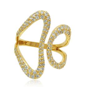14K Yellow Gold Diamond  Heart Adjustable Ring