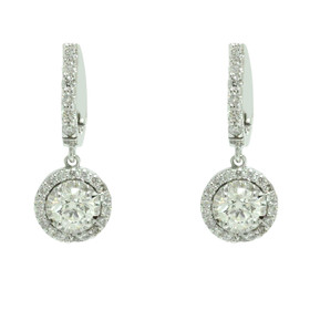 14K White Gold Diamond Lever Back Back Drop Earrings 41002307