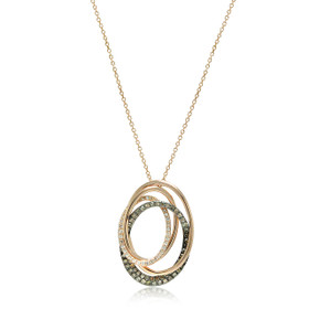 18K Pink Gold Diamond And Black Diamond Oval Layer Pendant 510019321