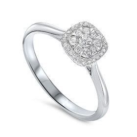 14K White Gold Halo Diamond Cluster Ring