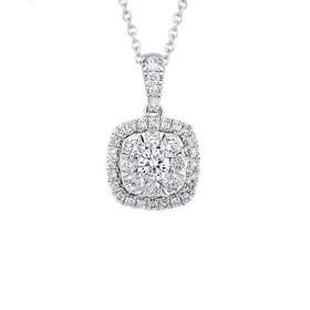 14K White Gold Diamond Halo Diamond Cluster Pendant