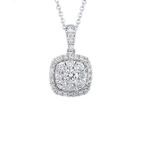 14K White Gold Diamond Halo Diamond Cluster Pendant 31000927