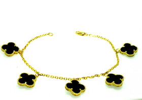 "14K Yellow Gold 5 Dangling black Onyx Flower Clover 7.5"" Bracelet  22000811"