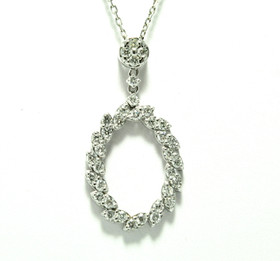 "14K White Gold Diamond Fancy Oval 17"" Necklace 31000917"