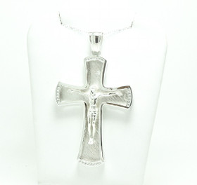 Sterling Silver Crucifix Charm w/Diamonds