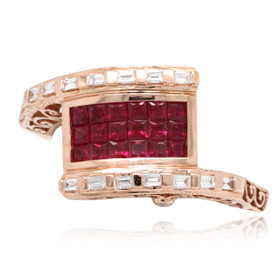 14K Pink Gold Diamond Ruby Ring