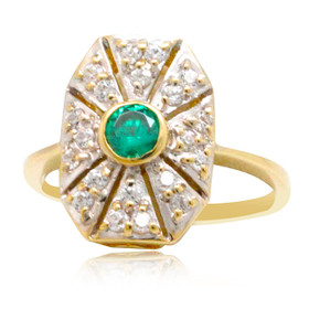 14K Yellow Gold White and Green Cubic Zirconia Ring